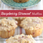 raspberry muffins with streusel topping on mint green floral plate