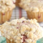 raspberry muffin on aqua color floral plate