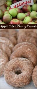 homemade apple cider doughnuts on a sheet pan rolled in cinnamon sugar