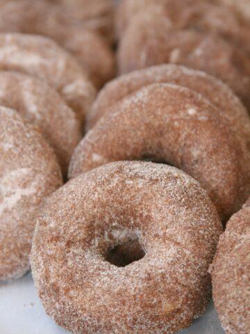 Apple Cider Doughnuts sprinkled with cinnamon sugar