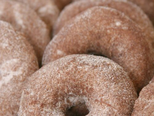 Apple Cider Doughnuts sprinkled with cinnamon sugar