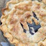 blueberry pie with pie server