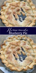 blueberry pie in glass pie dish