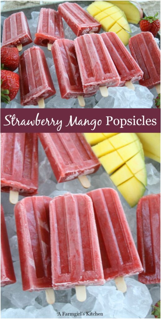 homemade popsicles on ice cubes in a galvanized tray