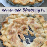 blueberry pie in a clear baking dish