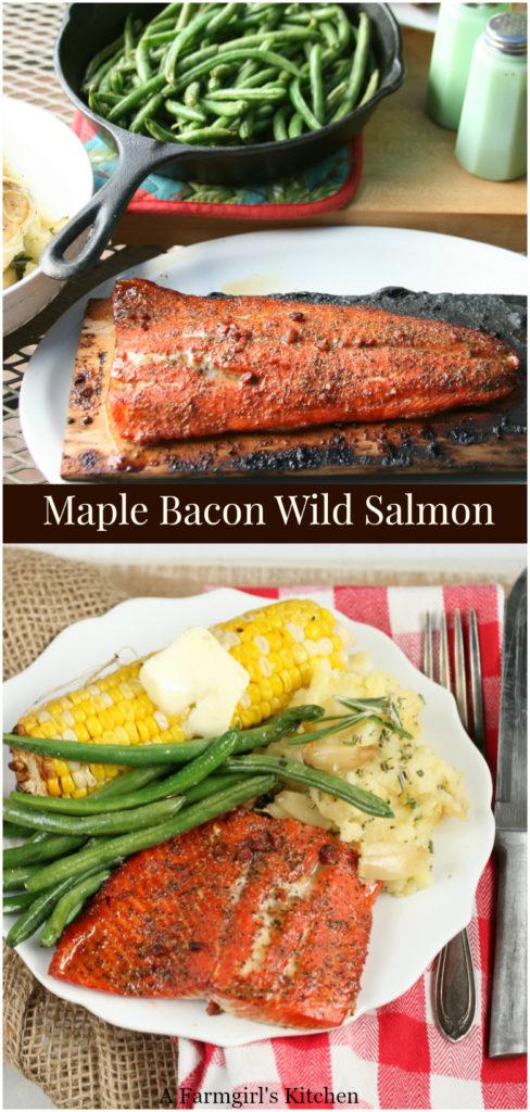 maple bacon spice rub on wild salmon on a cedar plank