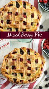 mixed berry pie in pie dish