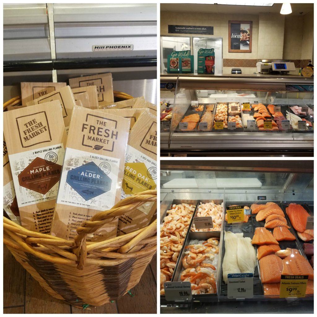 The Fresh Market seafood case and wooden planks in front of the seafood case