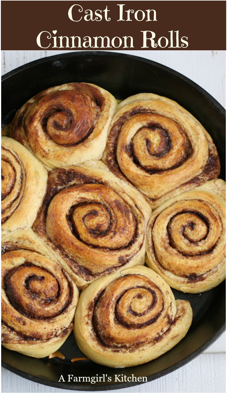 Cast Iron Cinnamon rolls are the perfect treat for your next breakfast or brunch. The most delicious, homemade cinnamon rolls you've ever had! #easyrecipes #cinnamonrolls #breakfast #brunch #recipes #sweetrolls #pastry