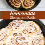 Cinnnamon rolls in cast iron skillet with icing