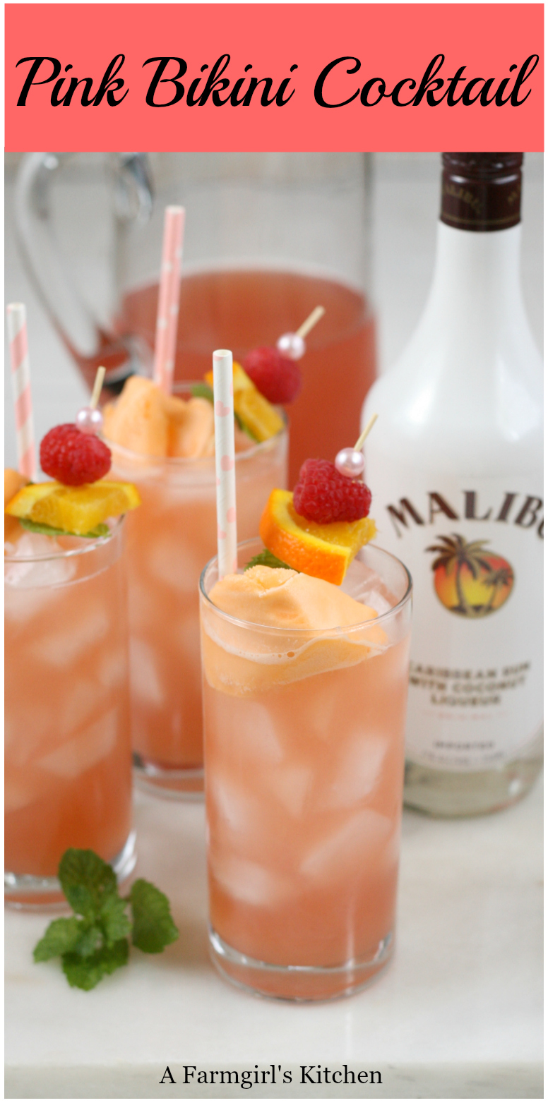 Pink Bikini Cocktails are a sweet and tropical tasting cocktail that is super easy to make and are perfect for your picnic or backyard gathering. #cocktails #pinkbikinidrink #pinkbikini #recipes #summerdrinks #easyrecipes