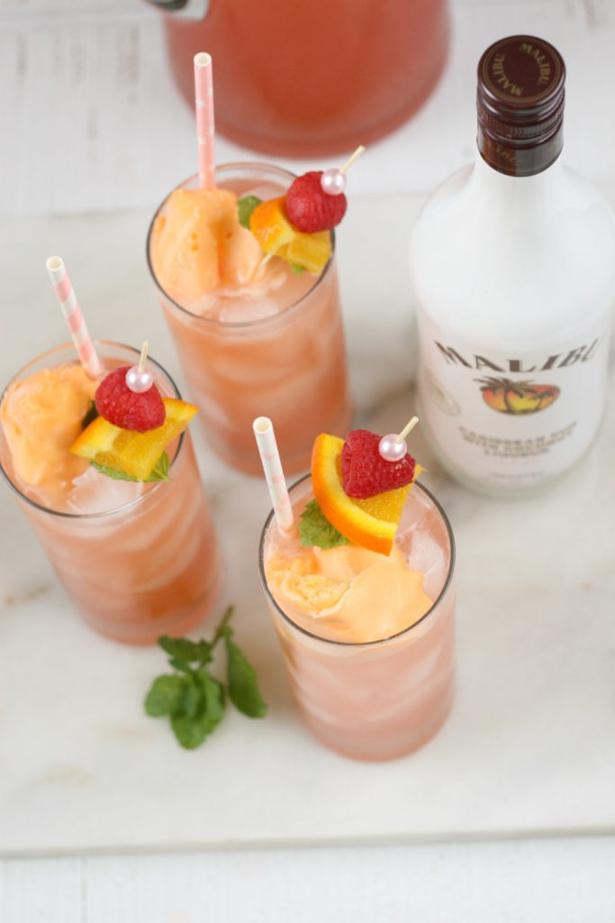 pink bikini cocktails with malibu rum