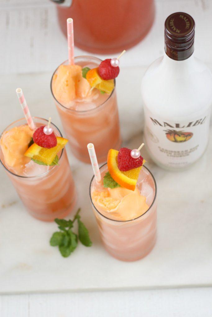 pink bikini cocktails with malibu rum