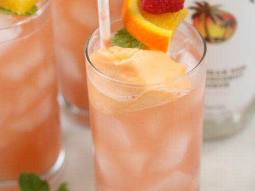 Pink bikini cocktail with orange sherbet