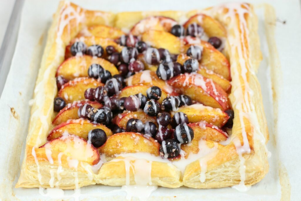 blueberry peach puff pastry tart