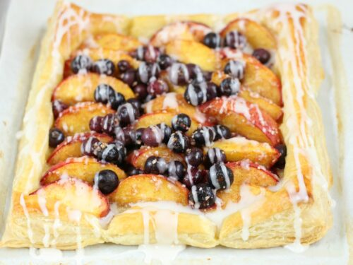blueberry peach puff pastry tart