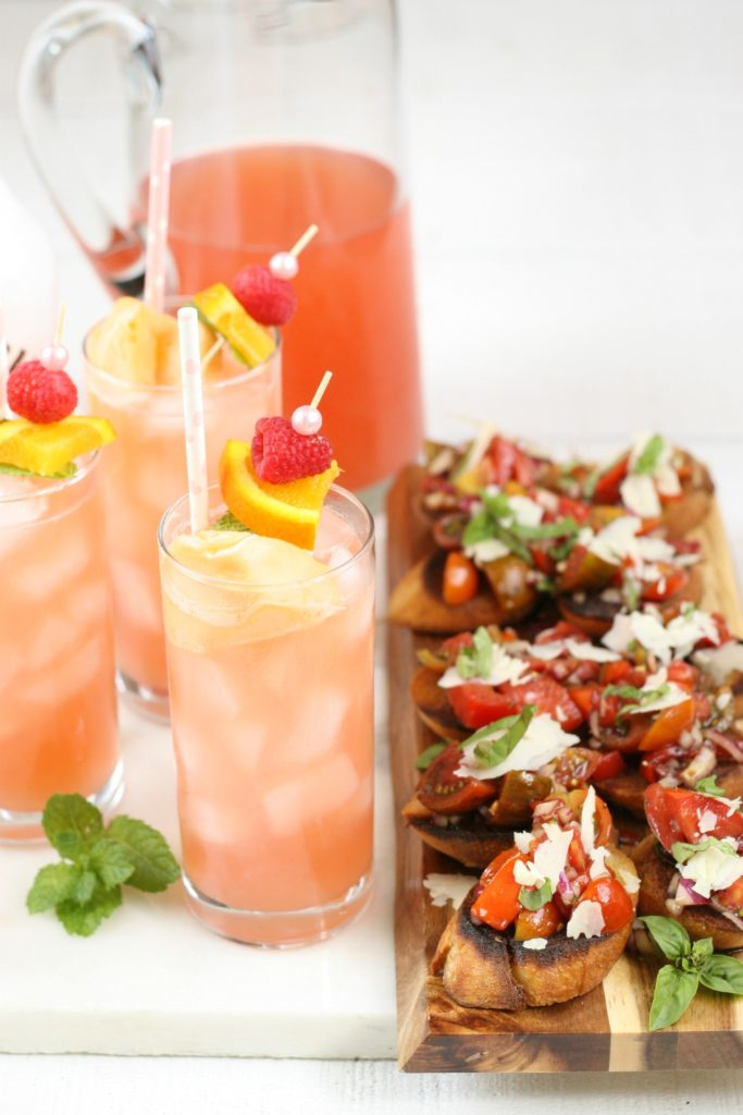 pink bikini cocktails with heirloom tomto bruschetta