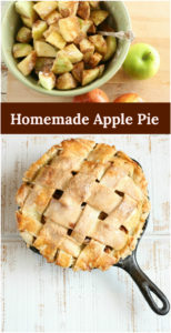 homemade apple pie with lattice crust in a cast iron skillet