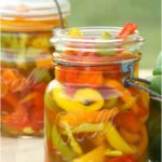 Vintage Mason jars filled with multi color pickled sweet peppers