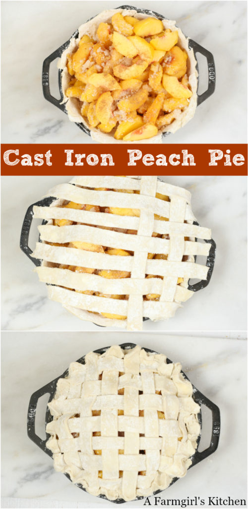 different stages of lattice crust on a cast iron peach pie in a 2-handle pan