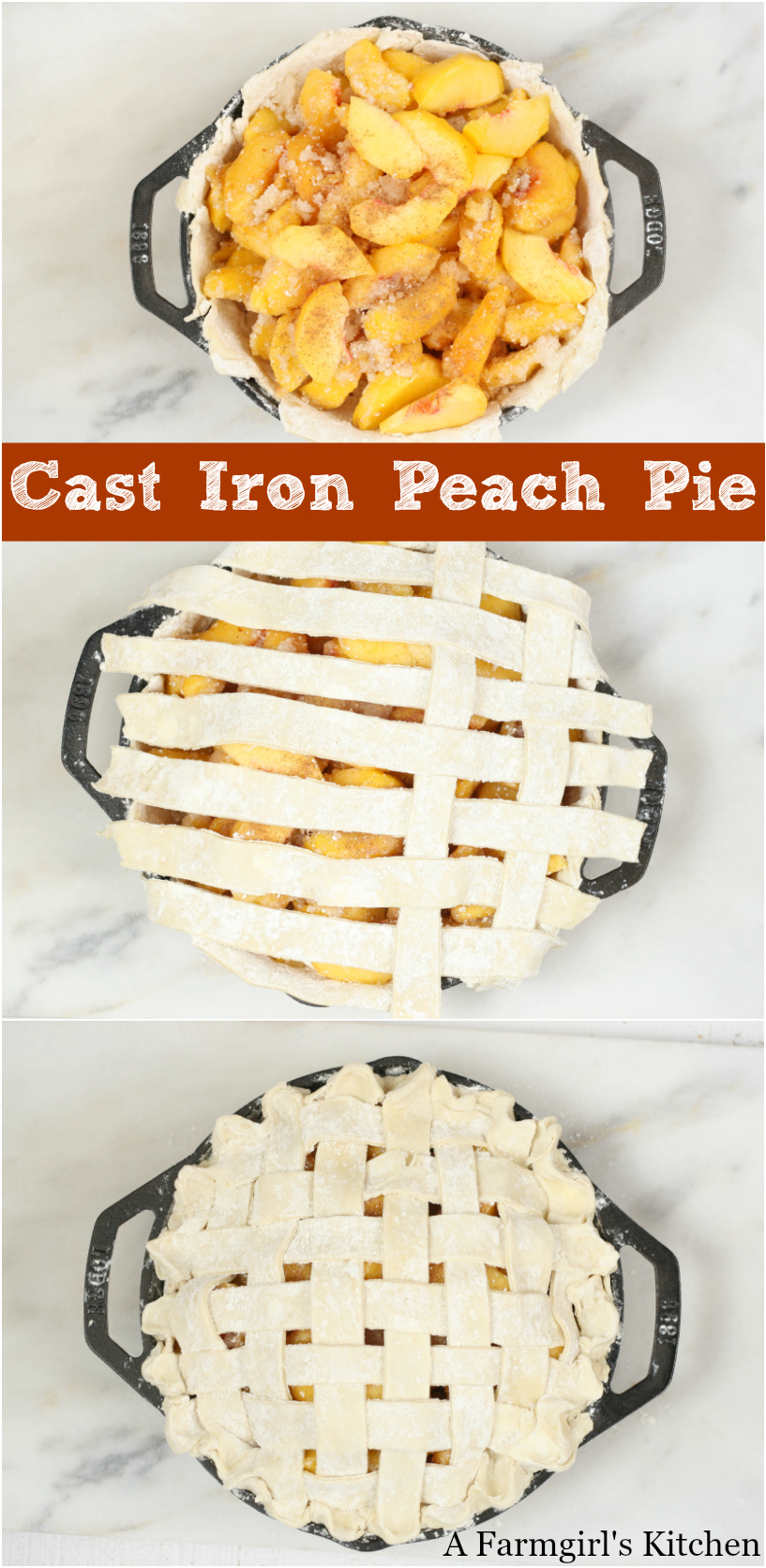 This Cast Iron Peach Pie is simple to make with a homemade lattice crust and baked in a cast iron pan, leaving the crust super flaky. #pastry #PIE #peaches #recipe #peachpie #homemade #bakefromscratch