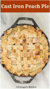 Homemade peach pie in a cast iron 2-handle pan with lattice crust