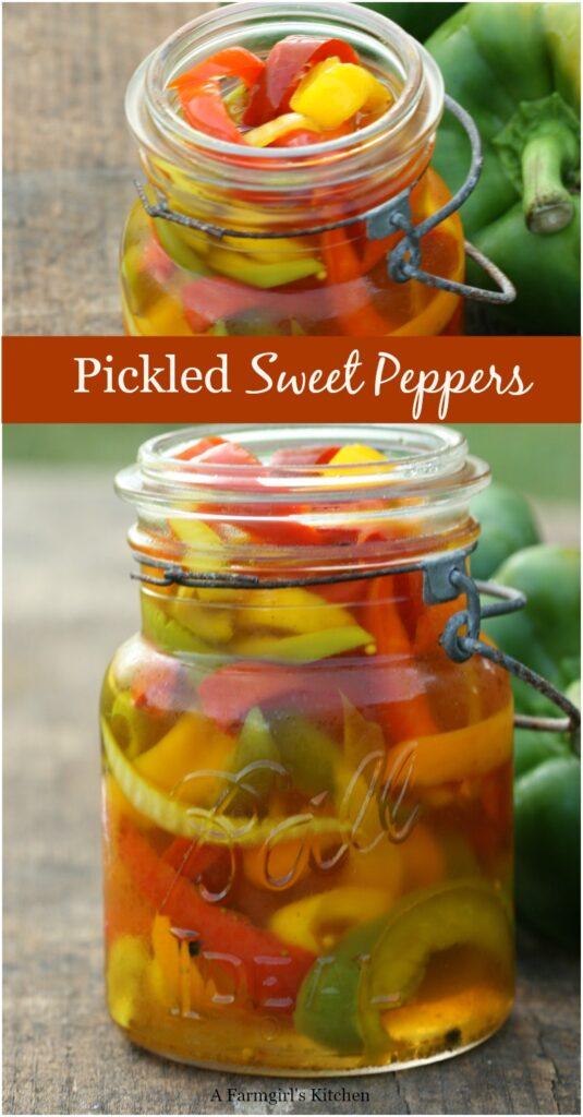 pickled sweet peppers in vintage Mason jar
