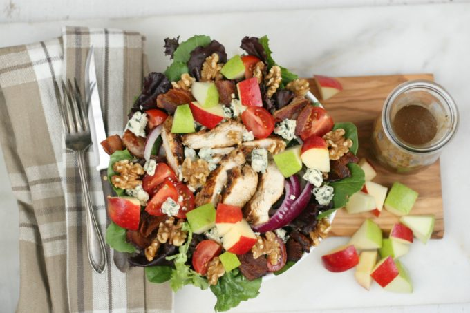 Harvest Chicken Salad with chopped apples, red onion, chunks of blue cheese and grilled chicken