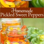 multi colored pickled sweet peppers in vintage Mason jars