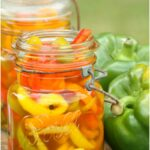 pickled sweet peppers, mixed colors in a Vintage Mason jar