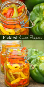 Pickled sweet peppers in a vintage Mason jar