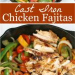 Chicken fajitas in cast iron skillet with multi colored sweet peppers