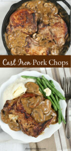 Pork chops in a cast iron skillet with sauteed mushrooms