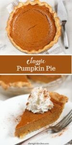 pumpkin pie in glass pie dish