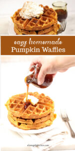 pumpkin waffles stacked on plate, pouring syrup over top