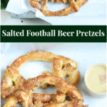 Salted Football Soft Pretzels stacked on a galvanized serving tray with honey mustard dipping sauce
