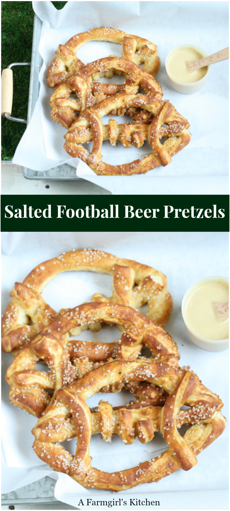 Get in the game day spirit with these Salted Football Beer Pretzels, served up with your favorite dipping sauces. #recipes #footballparty #footballideas #saltedpretzels #homemade