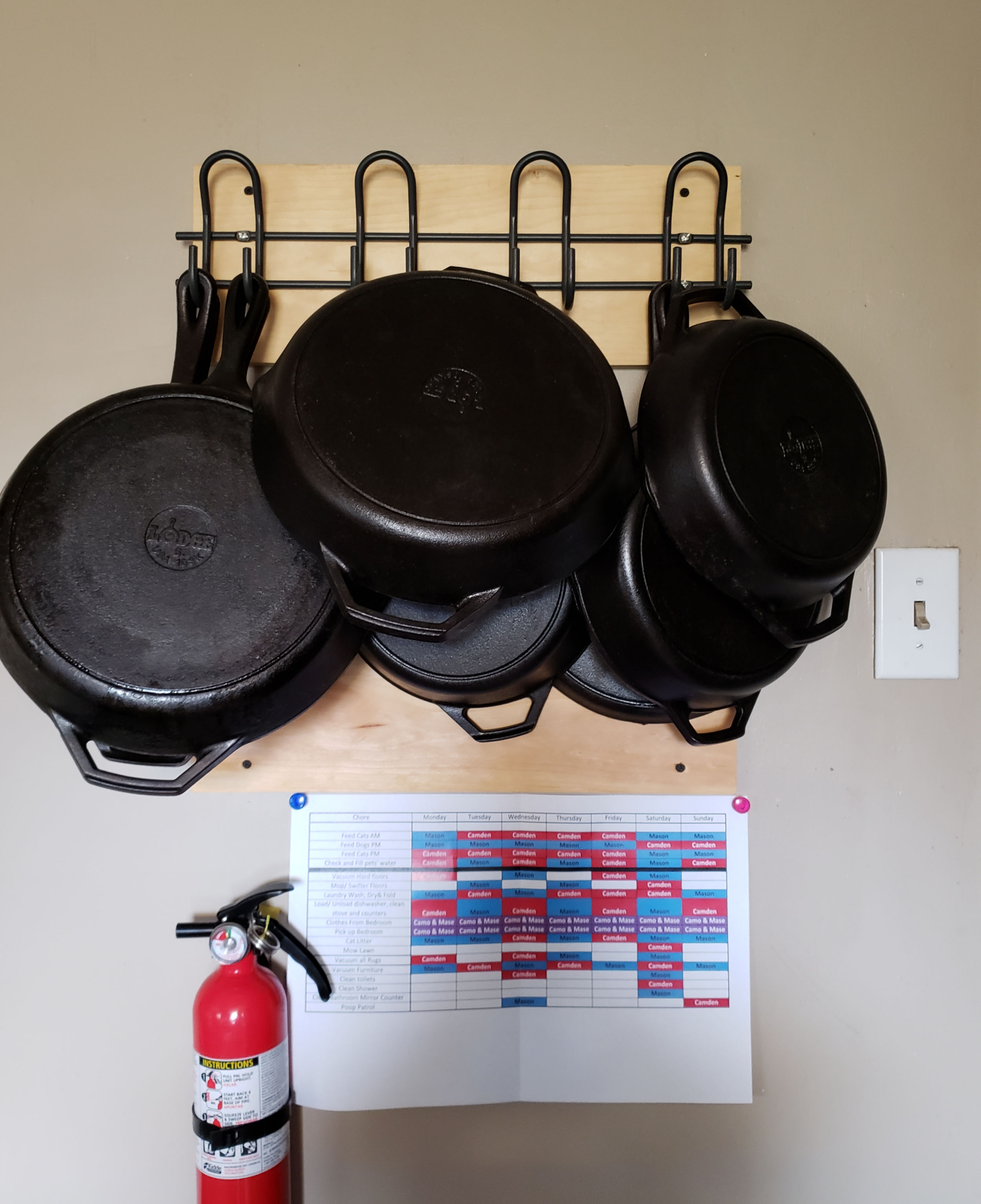cast iron pans hung on the wall in a kitchen on hooks on a piece of wood.