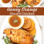 half of chicken with orange glaze on white serving dish