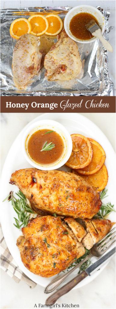 Honey orange glazed halves of chicken breasts on serving plate