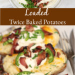 twice baked potatoes topped with cheese, bacon, and jalapeno slices