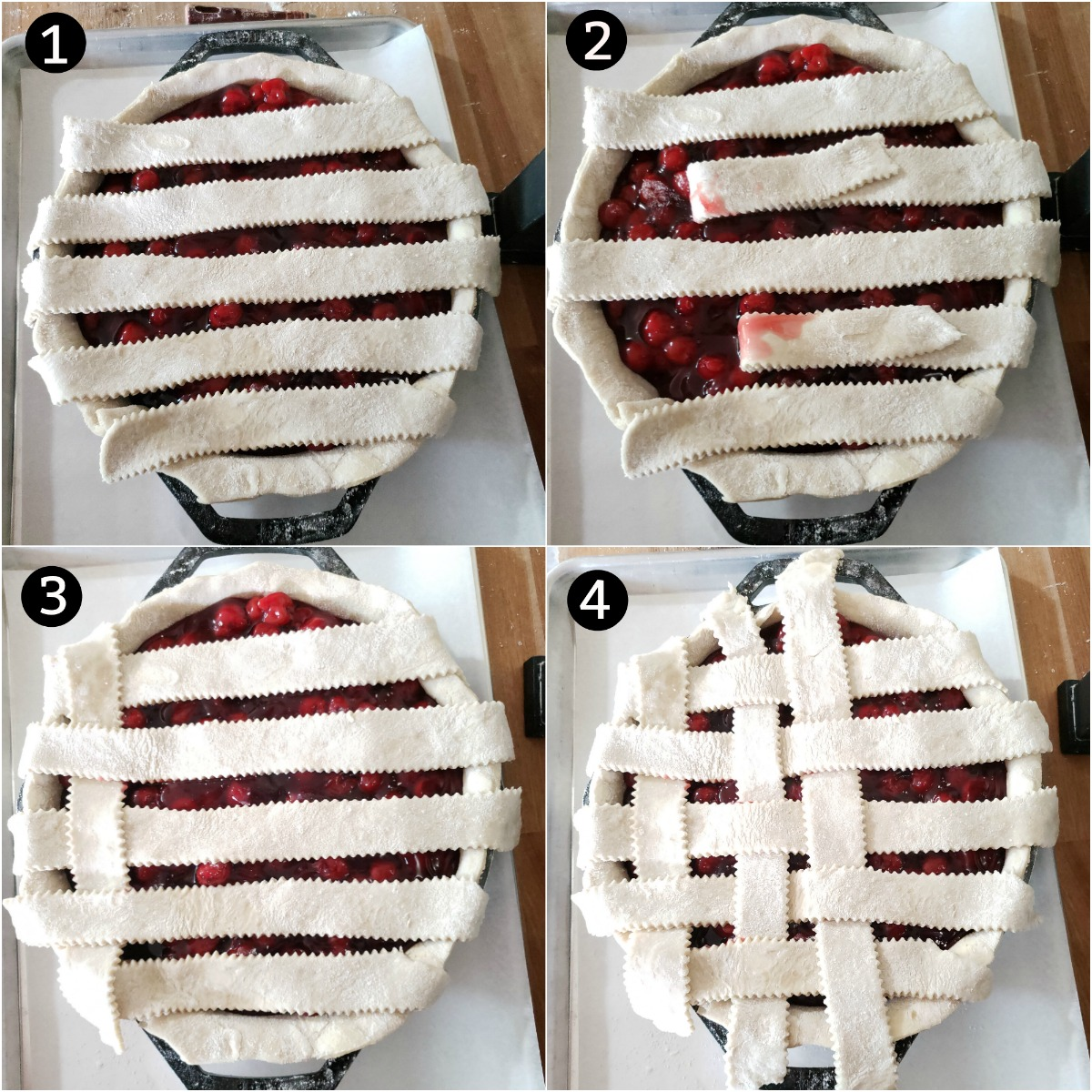Step images of weaving a lattice pie crust on a cherry pie.