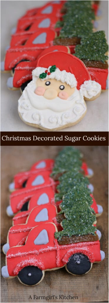 Decorated sugar cookies Santa face and vintage red trucks with trees in bed