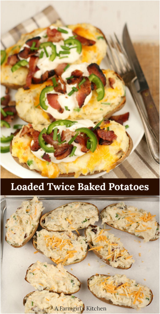 Twice baked potatoes lined up on a plate and topped with sour cream, crispy bacon, and chopped chives