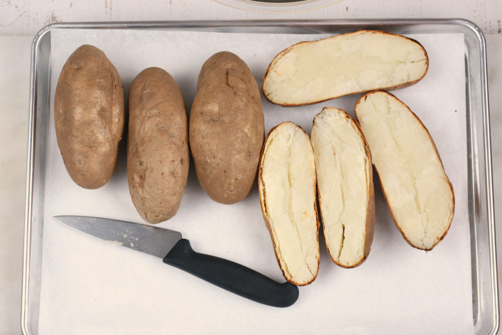 baked potatoes cut in half