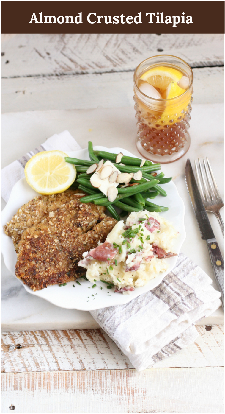 Almond Crusted Tilapia is a simple and delicious meal to make in a cast iron skillet. #recipes #castironcooking #homemade