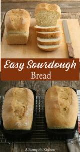 sourdough bread sliced on cutting board