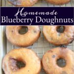 blueberry doughnuts with glaze drying on a baking rack