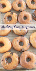 blueberry doughnuts with glaze drying on baking rack