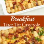 tater tot breakfast casserole in white ceramic rectangle dish, topped with crispy bacon pieces and green onion slices